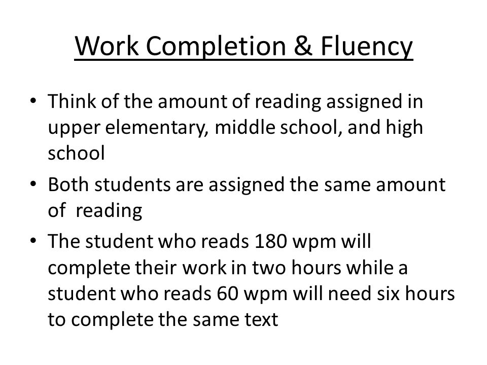 Work Completion & Fluency