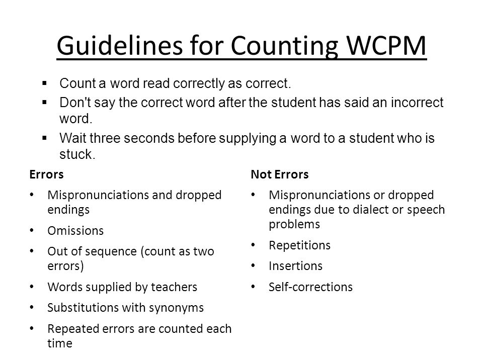 Guidelines for Counting WCPM