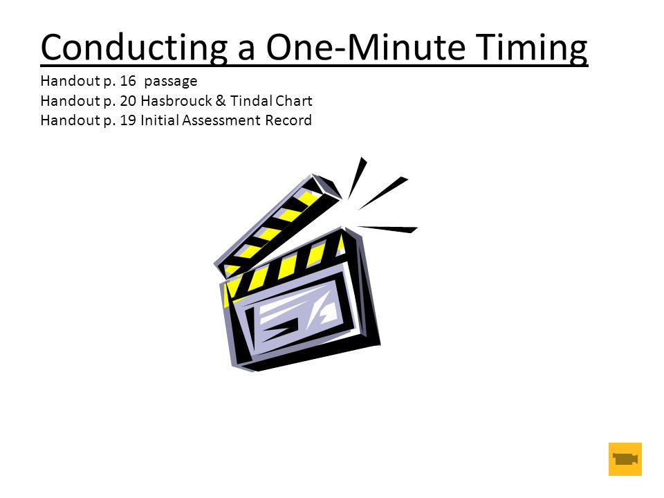 Conducting a One-Minute Timing Handout p. 16 passage Handout p