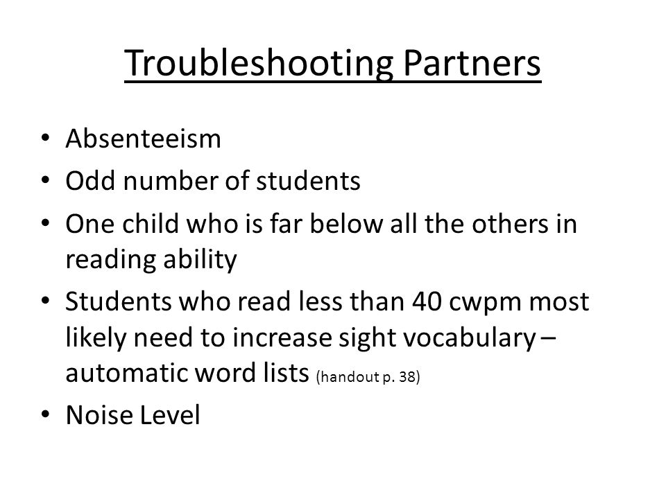 Troubleshooting Partners