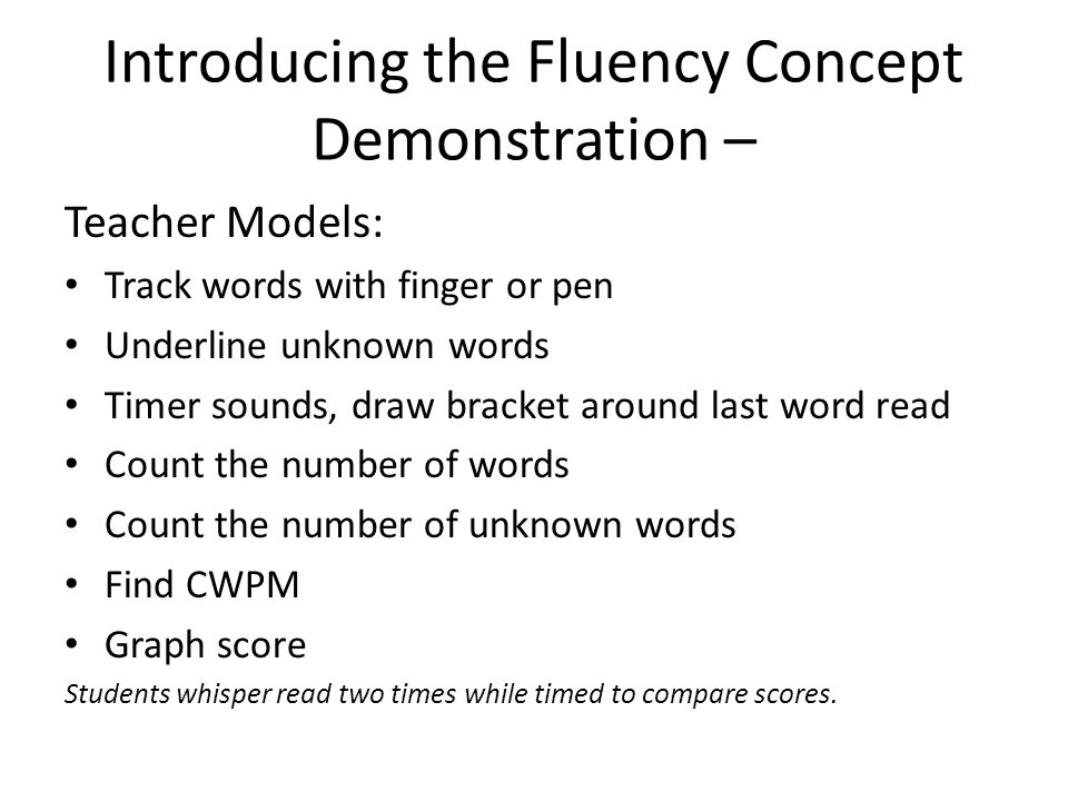Introducing the Fluency Concept Demonstration –