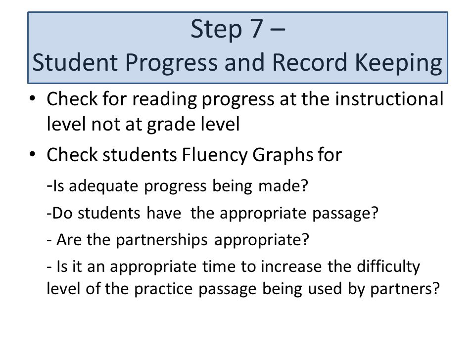 Step 7 – Student Progress and Record Keeping