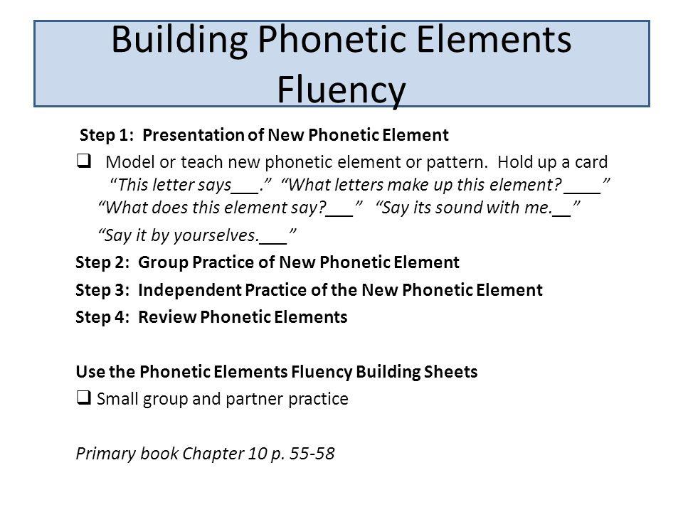 Building Phonetic Elements Fluency