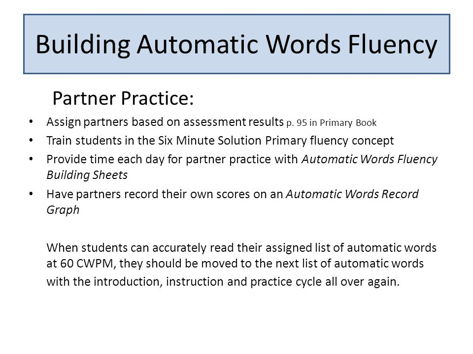 Building Automatic Words Fluency