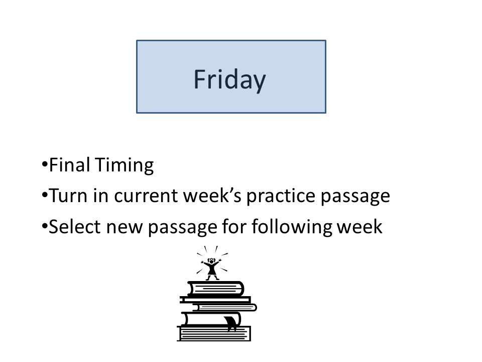 Friday Final Timing Turn in current week's practice passage