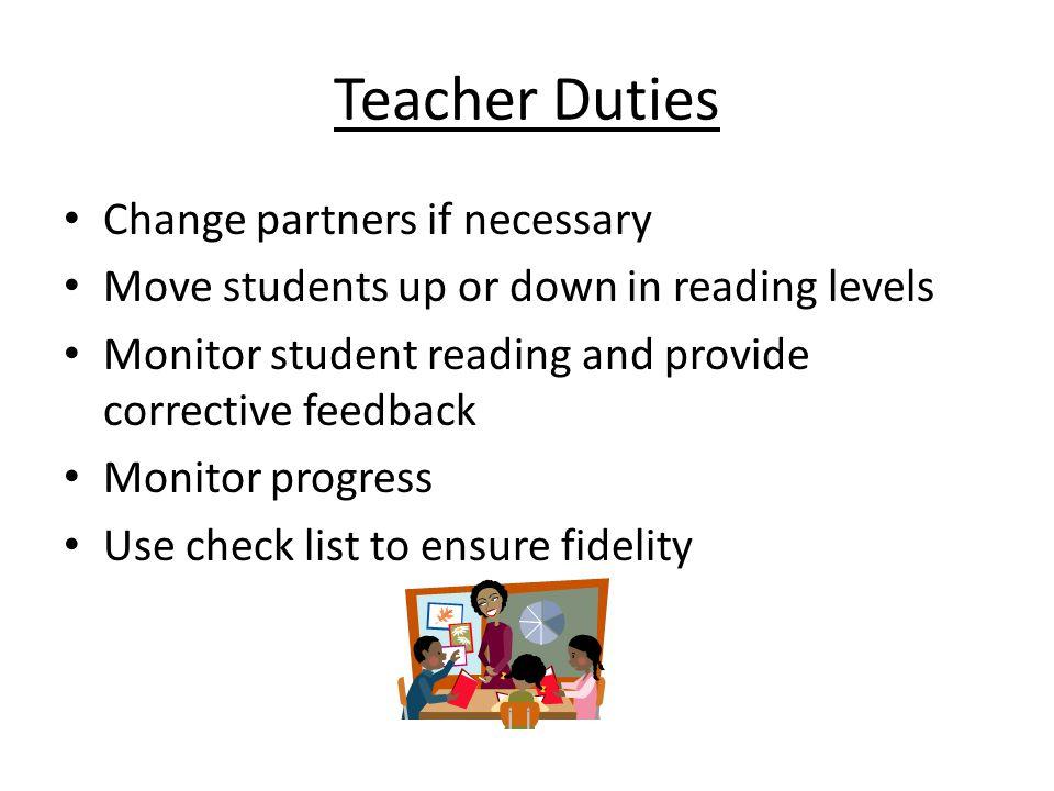 Teacher Duties Change partners if necessary