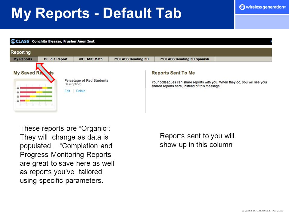 My Reports - Default Tab