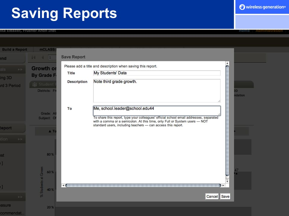 Saving Reports