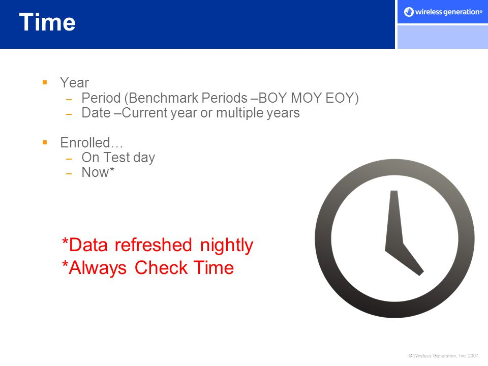 Time *Data refreshed nightly *Always Check Time Year