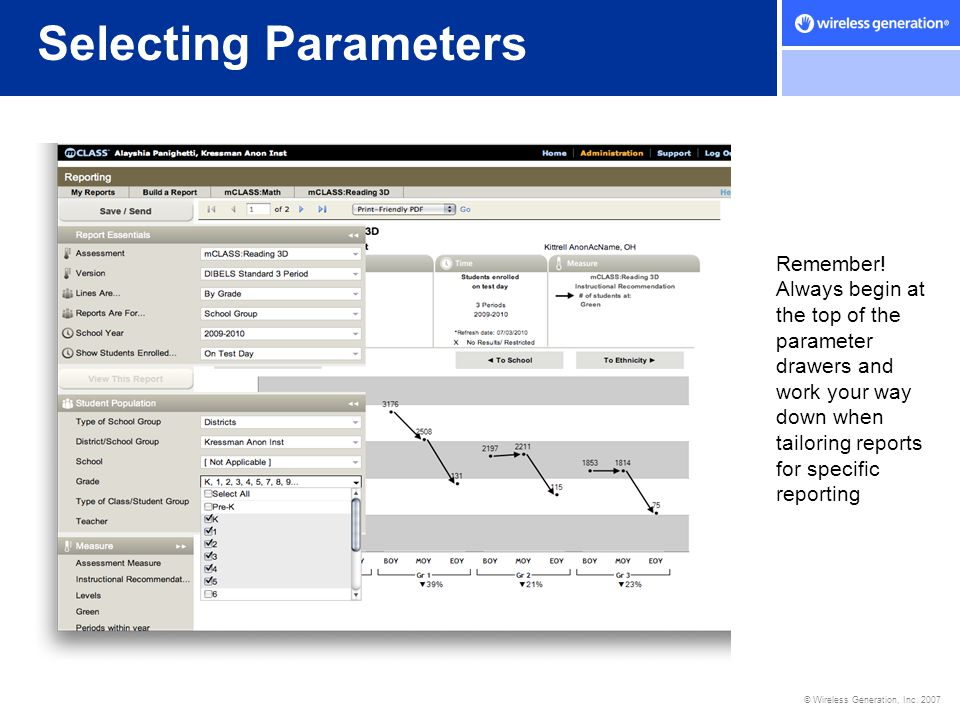 Selecting Parameters
