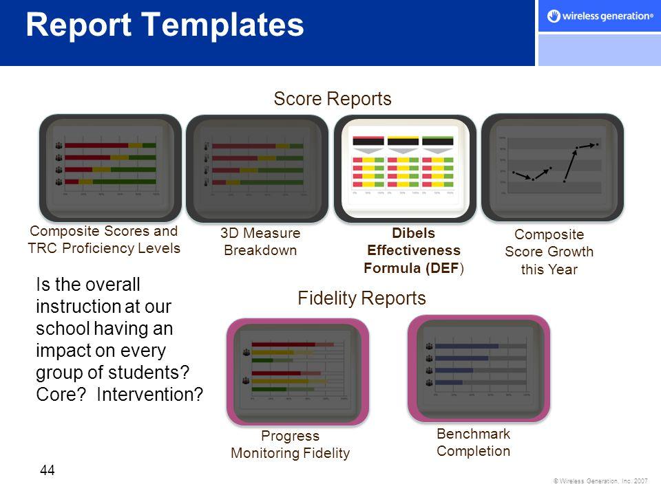 Report Templates Score Reports