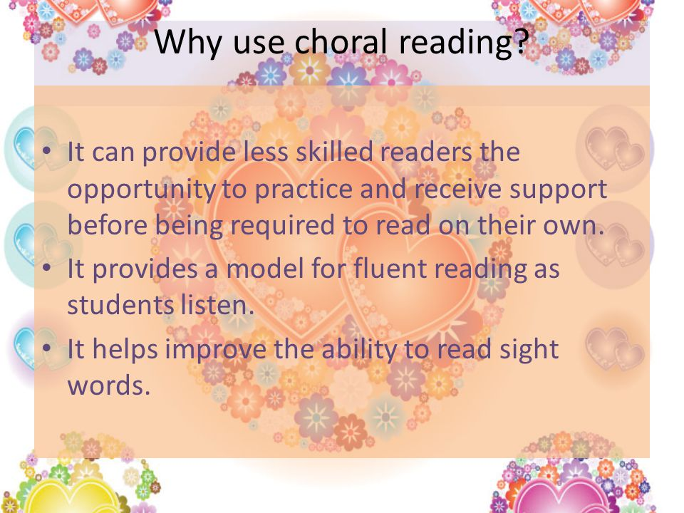 Why use choral reading