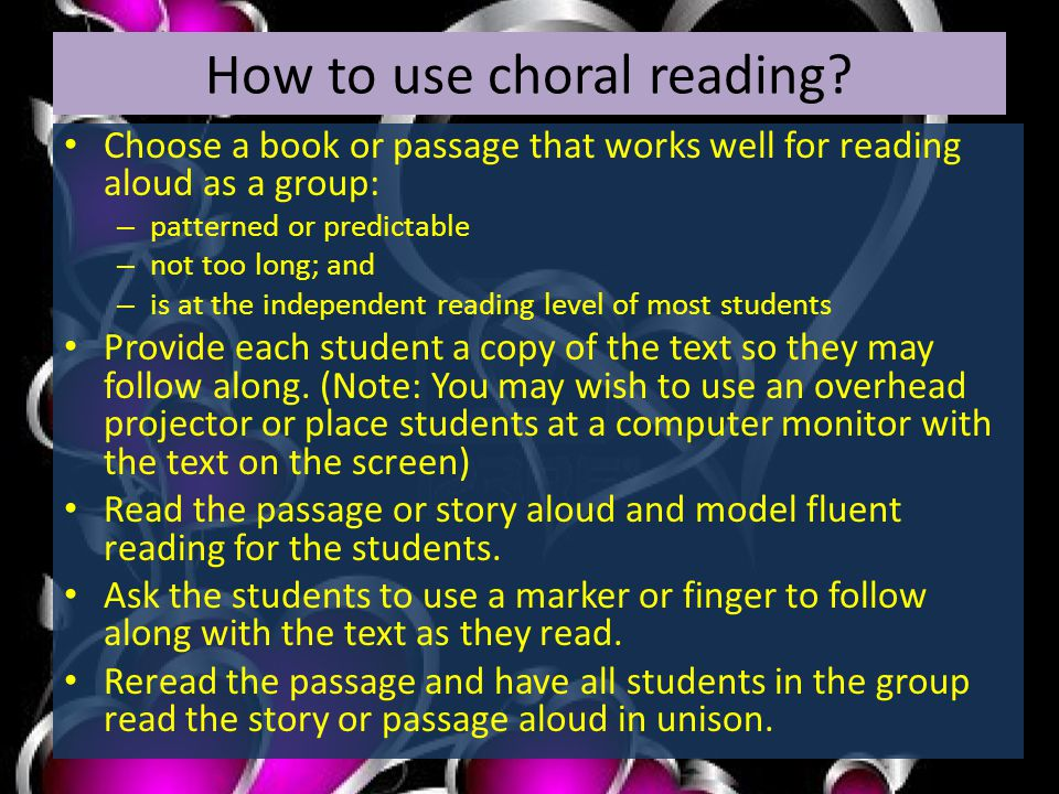 How to use choral reading