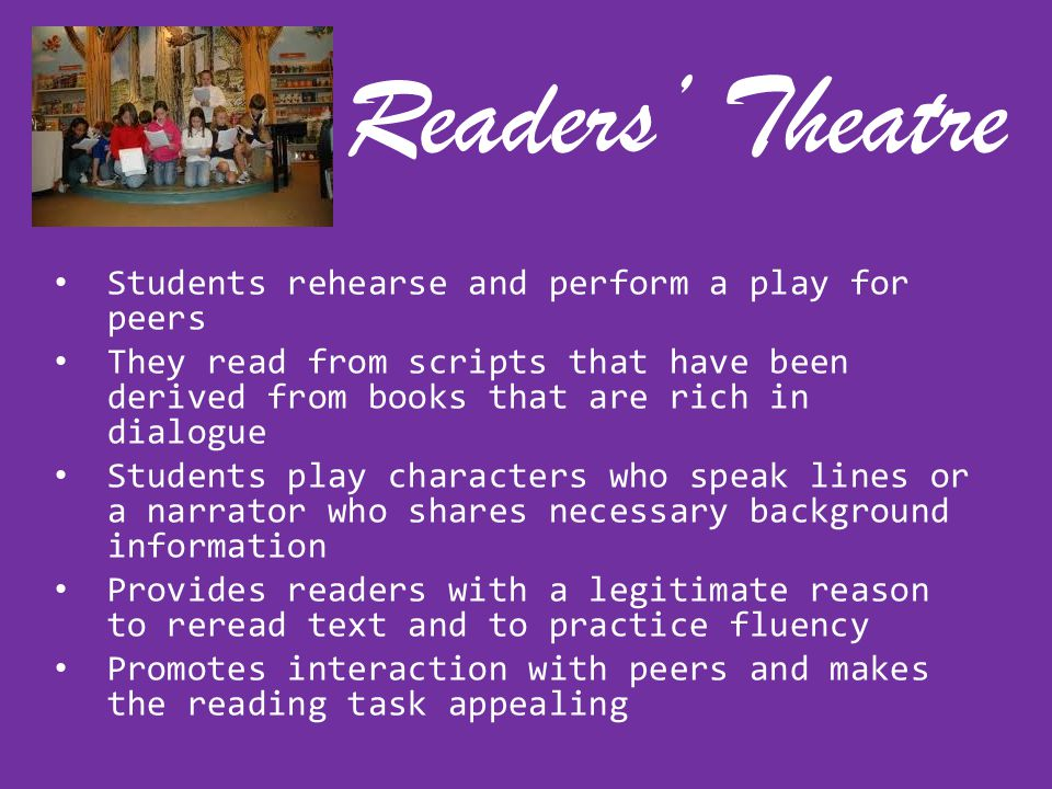 Readers' Theatre Students rehearse and perform a play for peers
