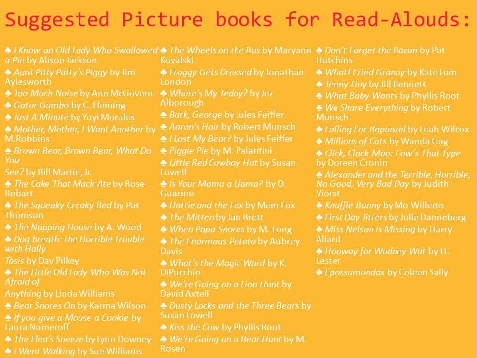 Suggested Picture books for Read-Alouds: