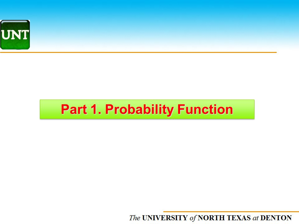 Part 1. Probability Function