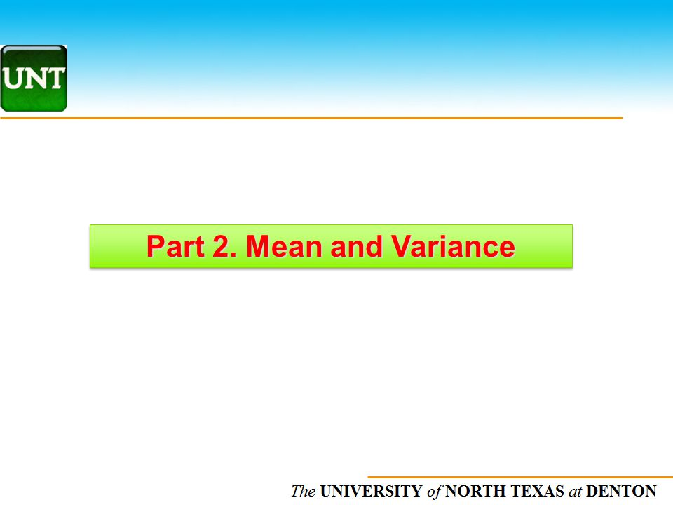Part 2. Mean and Variance