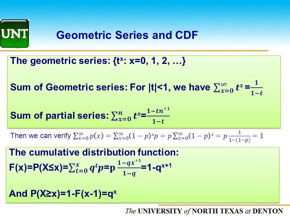 Geometric Series and CDF