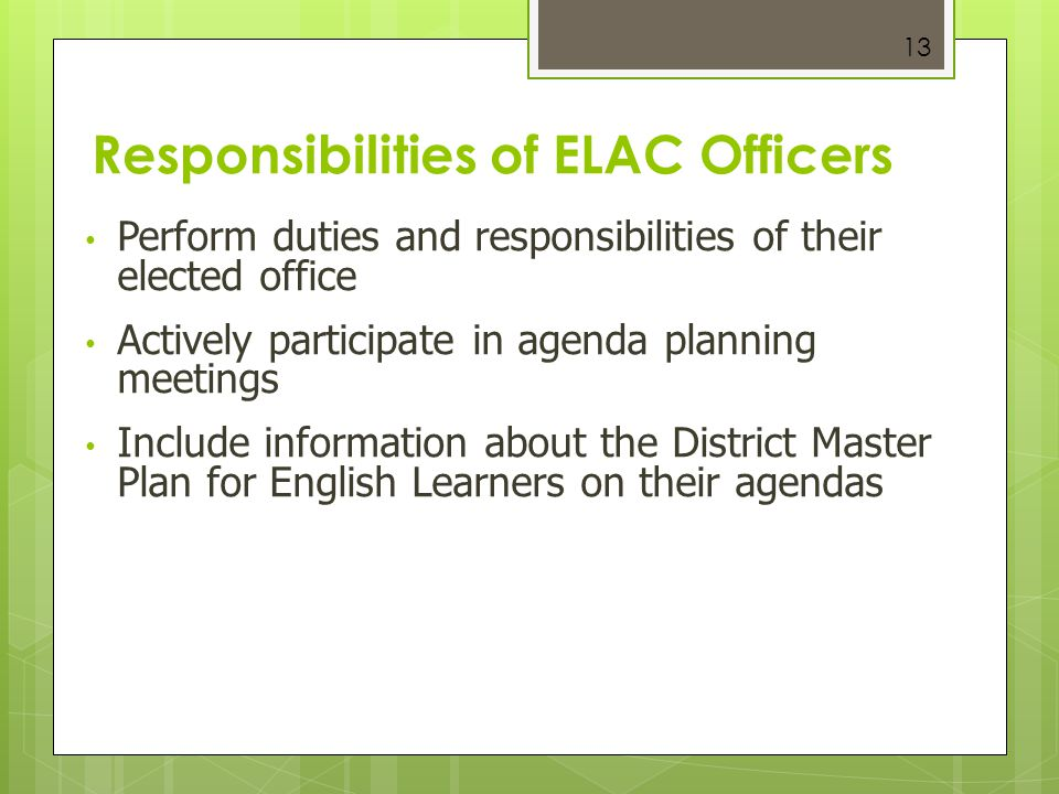 Responsibilities of ELAC Officers