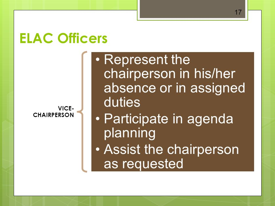 Represent the chairperson in his/her absence or in assigned duties