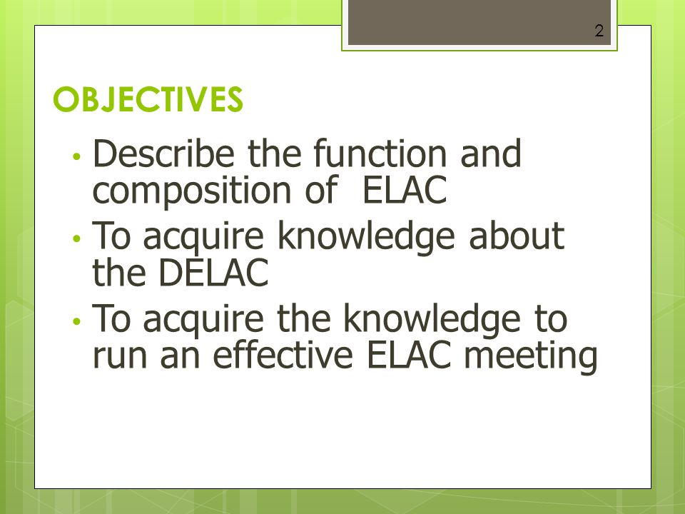 Describe the function and composition of ELAC