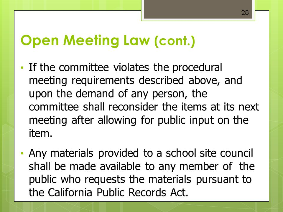 Open Meeting Law (cont.)