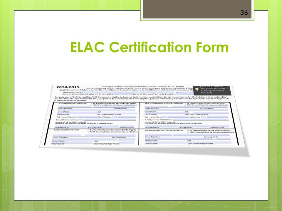 ELAC Certification Form