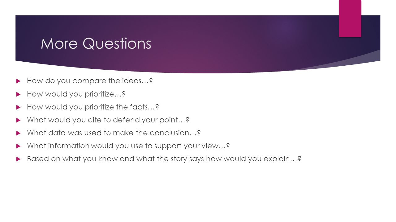 More Questions How do you compare the ideas…