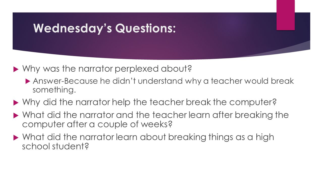 Wednesday's Questions: