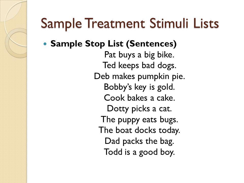 Sample Treatment Stimuli Lists