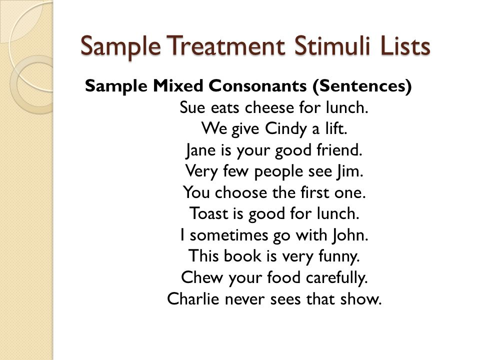Sample Treatment Stimuli Lists