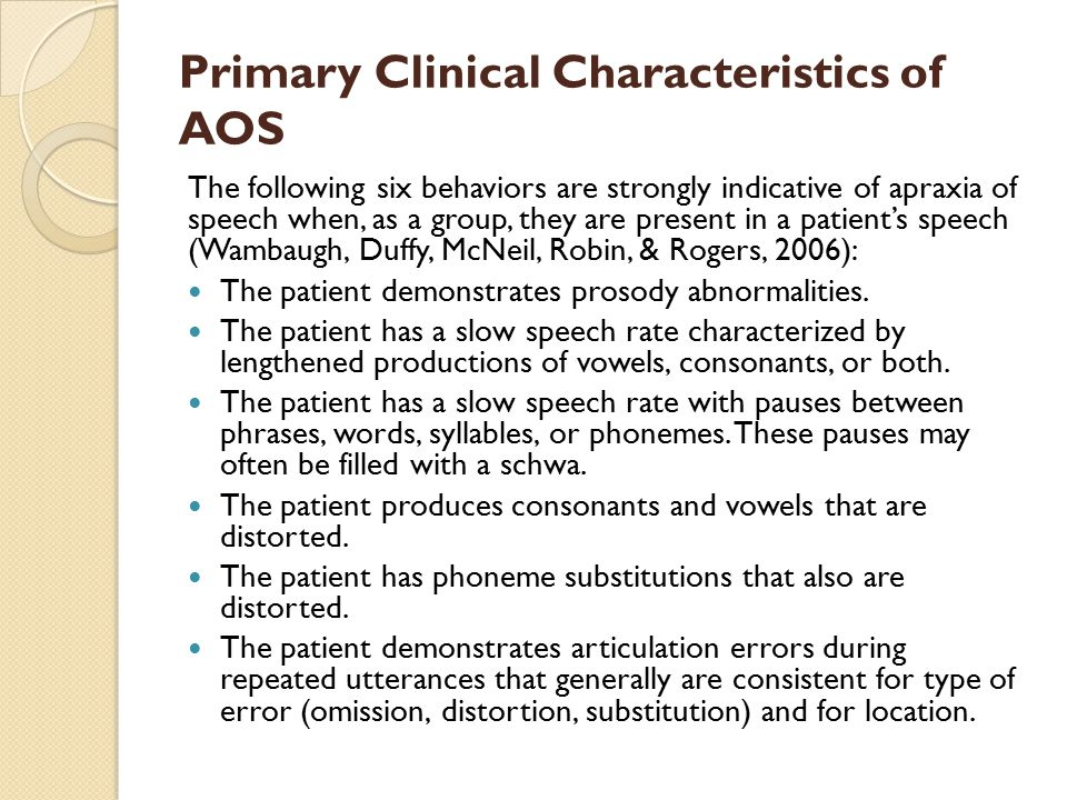 Primary Clinical Characteristics of AOS