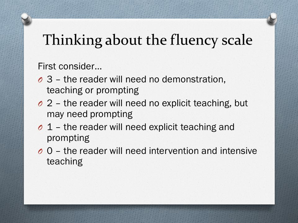 Thinking about the fluency scale