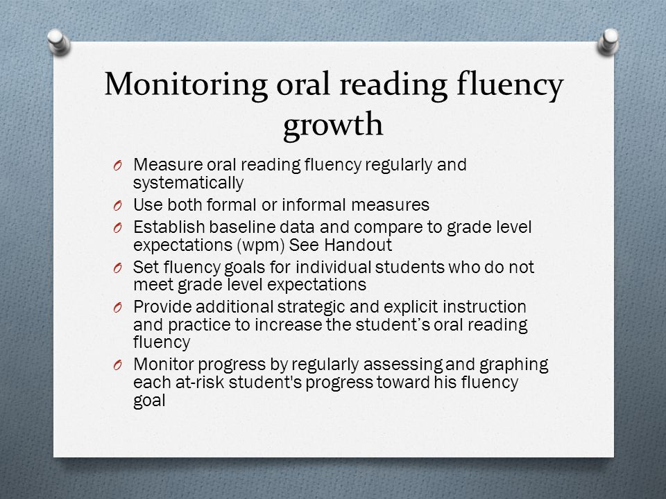 Monitoring oral reading fluency growth