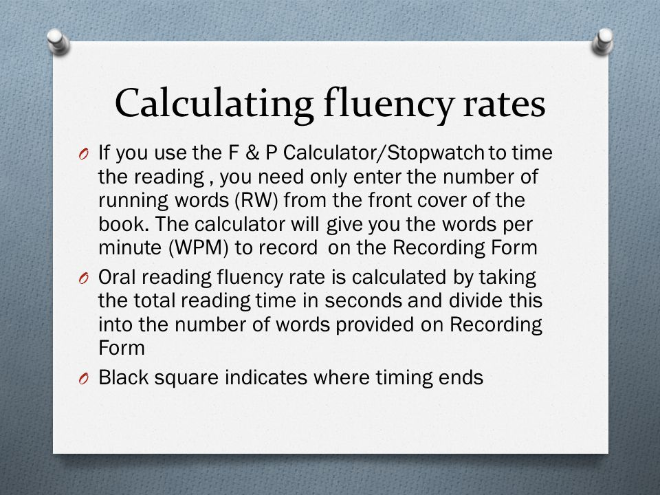 Calculating fluency rates