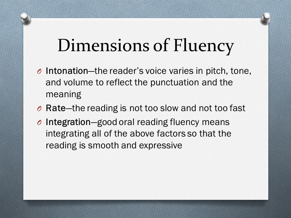 Dimensions of Fluency Intonation—the reader's voice varies in pitch, tone, and volume to reflect the punctuation and the meaning.