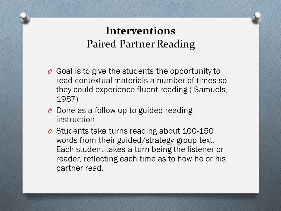 Interventions Paired Partner Reading