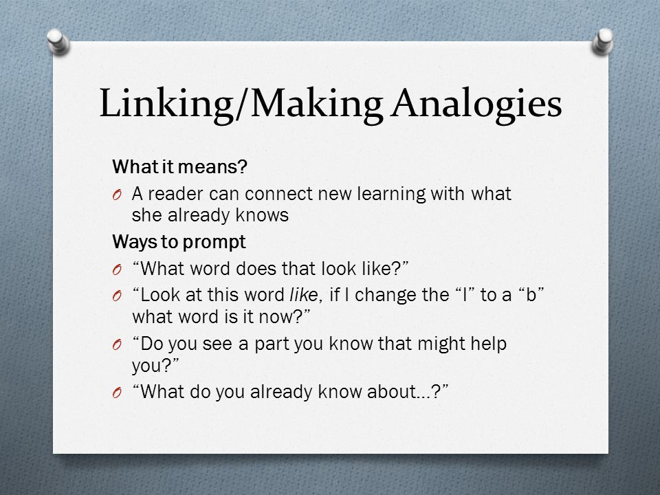 Linking/Making Analogies