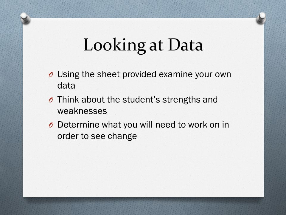 Looking at Data Using the sheet provided examine your own data