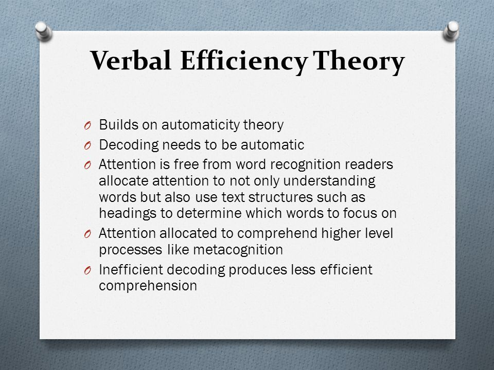 Verbal Efficiency Theory