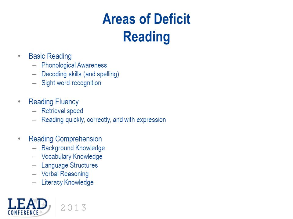 Areas of Deficit Reading