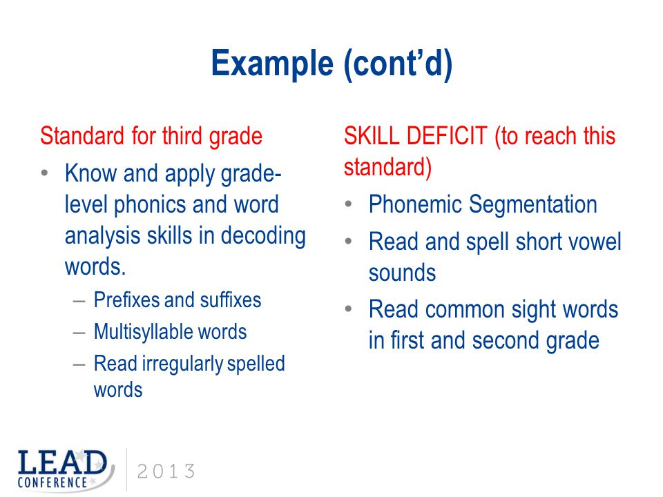 Example (cont'd) Standard for third grade