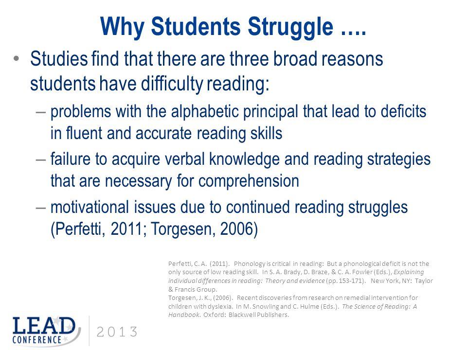 Why Students Struggle ….