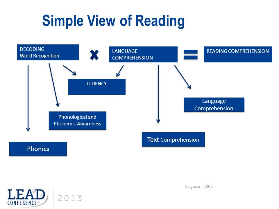 Simple View of Reading Text Comprehension Phonics