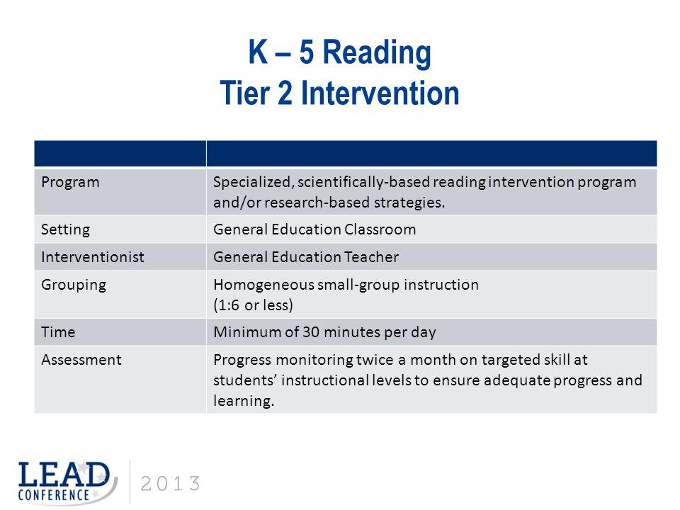 K – 5 Reading Tier 2 Intervention