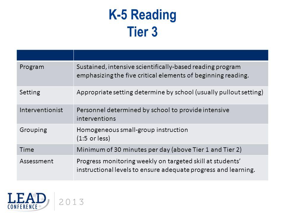 K-5 Reading Tier 3 Program