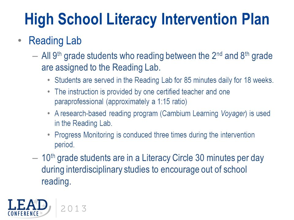 High School Literacy Intervention Plan