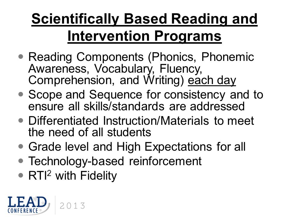 Scientifically Based Reading and Intervention Programs