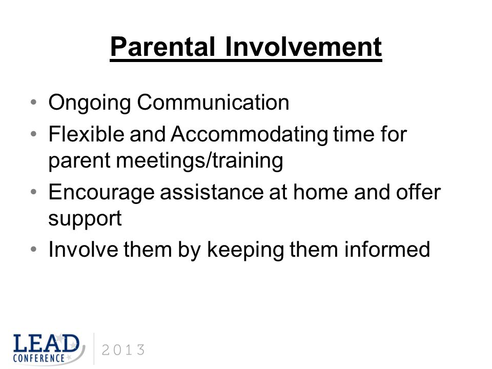 Parental Involvement Ongoing Communication