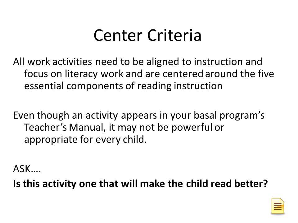 Center Criteria